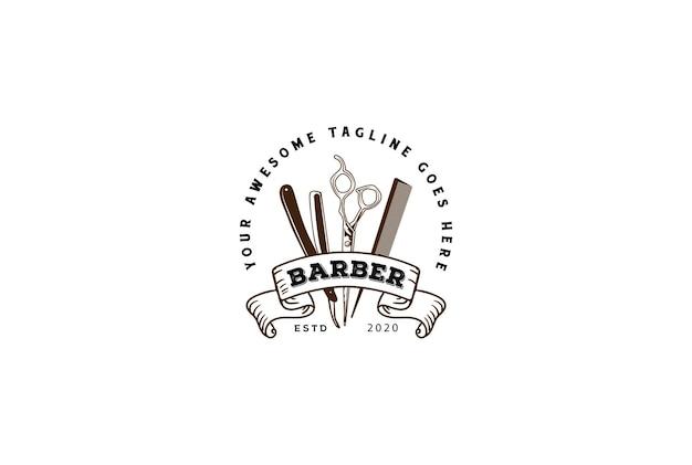 Vintage retro razor scissor and peigne pour barbershop hair cut style badge emblem label logo design vector