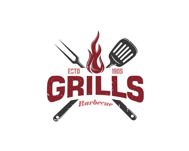 Vintage retro rustic bbq grill barbecue barbecue logo