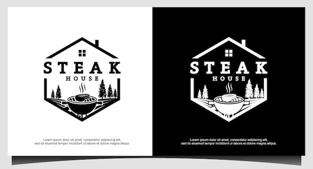 Vintage retro rustic bbq grill barbecue barbeque label stamp logo design