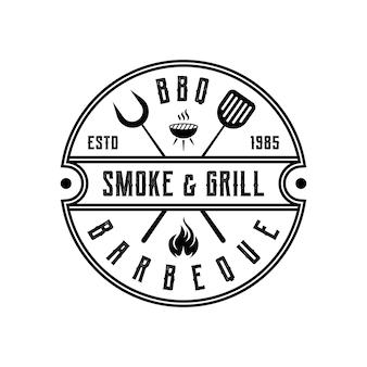 Vintage retro rustic bbq grill, barbecue, création de logo de timbre d'étiquette de barbecue
