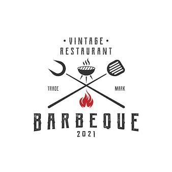 Vintage retro rustique bbq grill, barbecue, vecteur de conception de logo de barbecue
