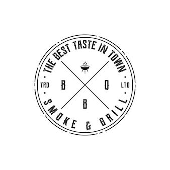 Vintage retro rustique bbq grill, barbecue, vecteur de conception de logo de timbre d'étiquette de barbecue
