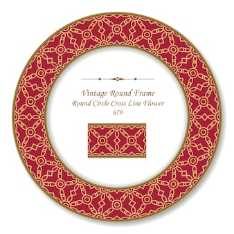 Vintage rond cadre rétro cercle croix ligne fleur, style antique