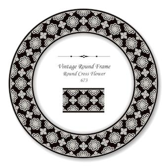 Vintage round retro frame noir blanc fleur croix ronde, style antique