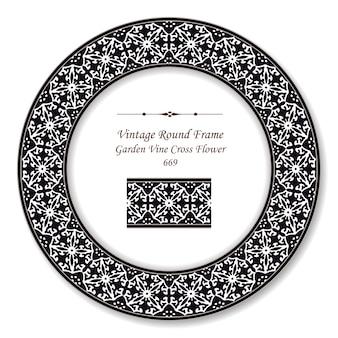 Vintage round retro frame noir blanc jardin fleur croix de vigne, style antique