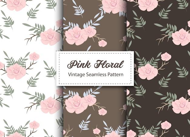 Vintage seamless pattern floral rose
