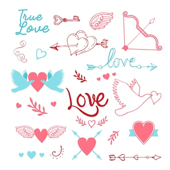 Vintage st en lettres à la main éléments de la carte de saint-valentin ensemble