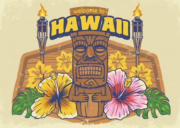 Vintage tiki hawaii texturé