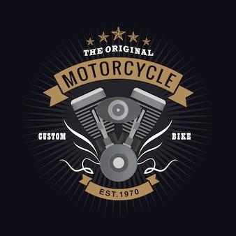 Vintage De Typographie De Logo De Moteur De Moto Vecteur Premium
