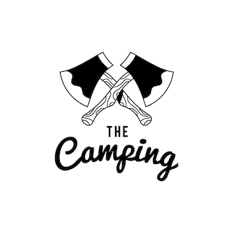 Vintage le vecteur de conception de texte logo camping