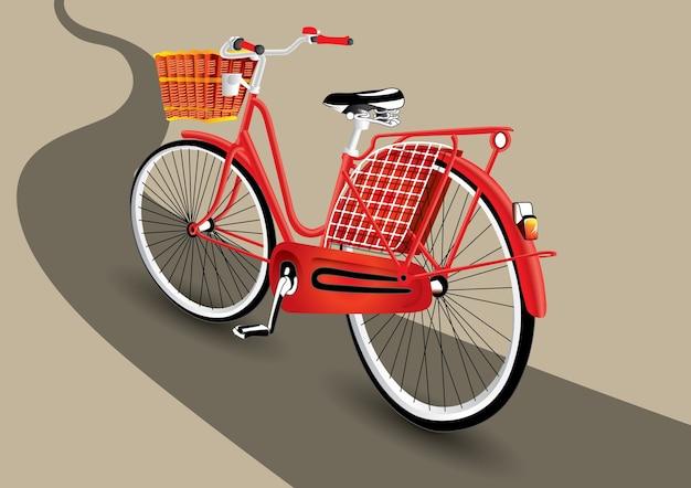 Vintage de vélo rouge sur la route