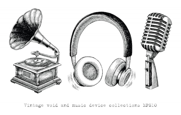 Vintage void and music device collections dessin à la main