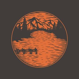 Vintage vue sur le lac