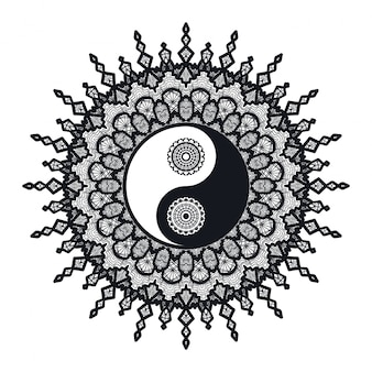 Vintage yin et yang en mandala