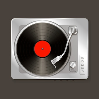 Vinyle de gramophone de musique de vecteur réaliste