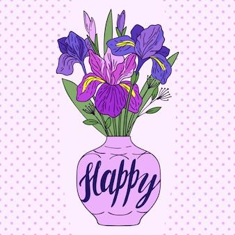 Violet iris dans un vase