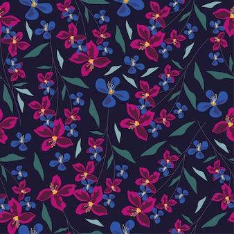 Violet orchidée et feuilles modèle sans couture