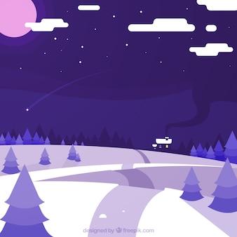 Violet paysage hivernal fond en design plat