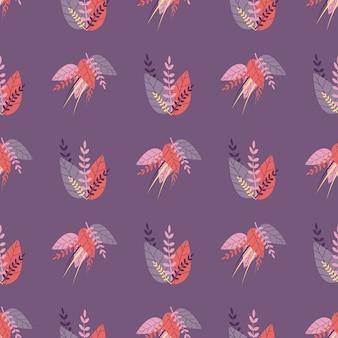 Violet seamless seamless pattern dans un style à base de plantes