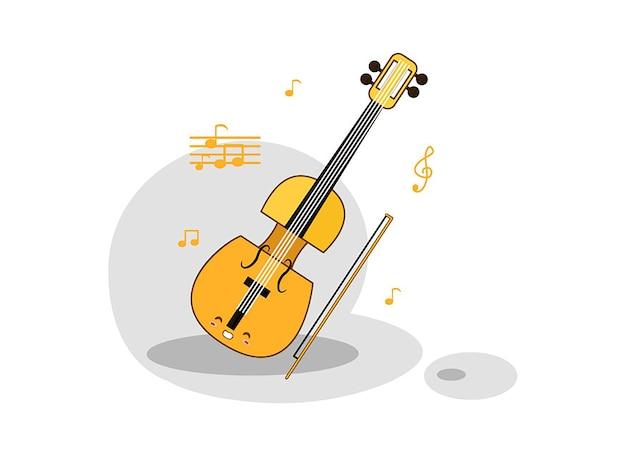 Un violon et un arc sur un fond blanc