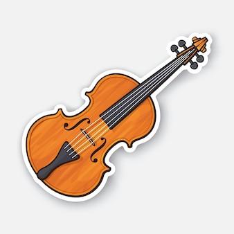 Violon en bois classique sans archet instrument de musique arc à cordes vector illustration
