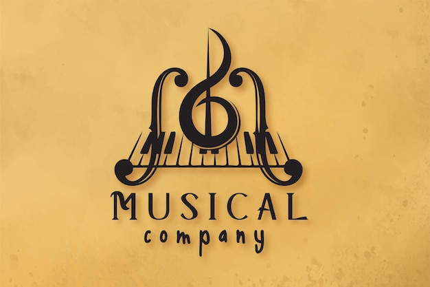 Violon, clé de piano, conceptions de logo d'instrument de musique