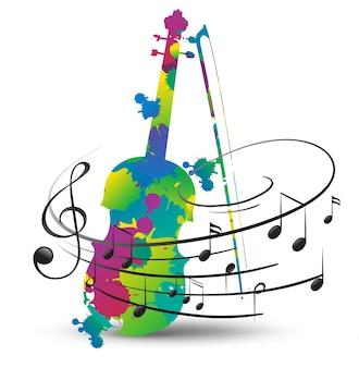 Violon coloré et notes de musique sur blanc