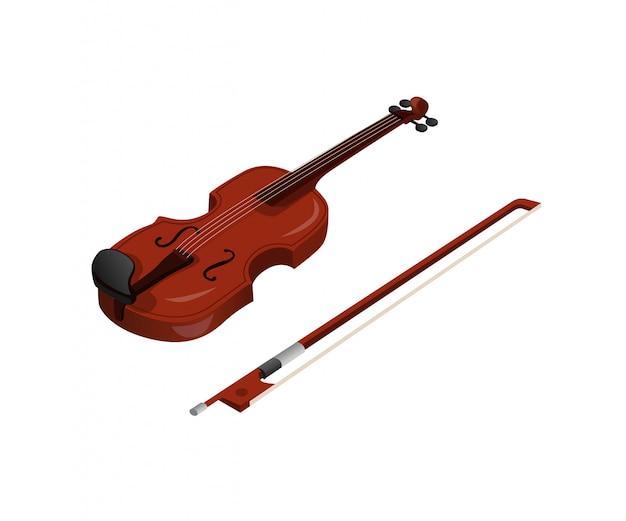 Violon, instrument de musique classique biola en bois en illustration isométrique isolé sur fond blanc