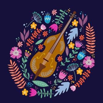 Violoncelle isolé et feuilles et fleurs brillantes. main, dessin vectoriel plat folk doodles