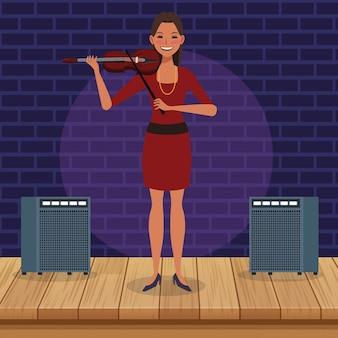 Violoniste de dessin animé en scène, groupe de musique jazz