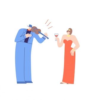 Violoniste et jolie femme personnages de dessins animés plats