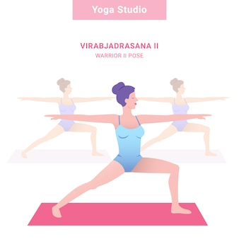 Virabjadrasana ii. guerrier ii pose. studio de yoga. yoga de vecteur