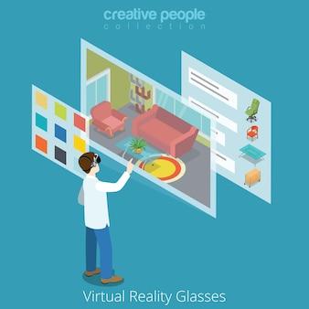 Virtual reality vr glass application concept web plat style isométrique illustration