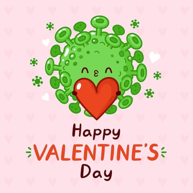 Virus corona mignon avec carte de voeux coeur