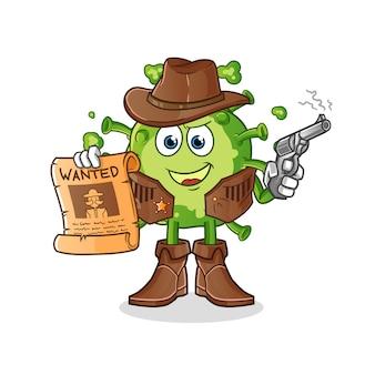 Virus cowboy tenant un pistolet et une affiche de recherche