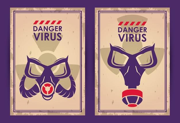 Virus de danger d'avertissement avec des masques