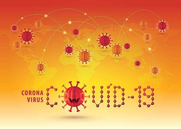 Virus d'épidémie de pandémie de coronavirus covid-19, signe abstrait de coronavirus rouge avec carte du monde global