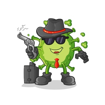 Virus mafia avec personnage de pistolet