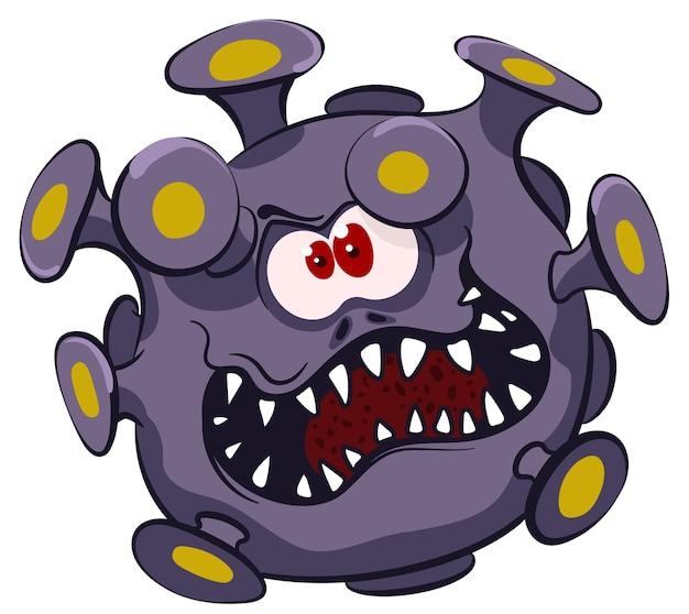 Virus maléfique dangereux avec un sourire à pleines dents