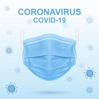 Virus et masque médical bleu