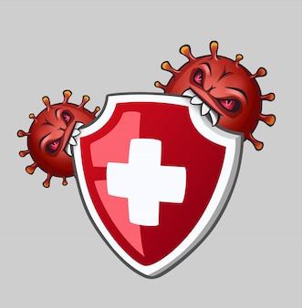 Les virus piquent le bouclier avec une croix