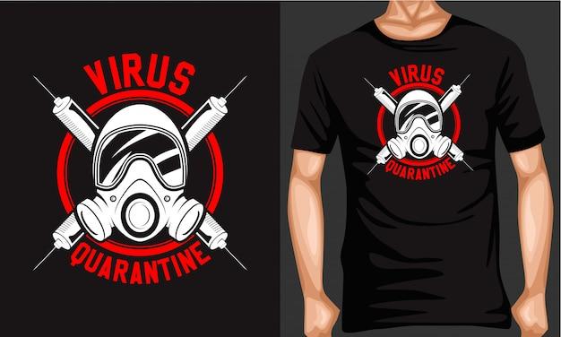 Virus quarantaine lettrage typographie t-shirt