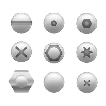 Vis réaliste, écrous et capuchon de boulon ou ensemble d'icônes de tête différentes formes équipement de matériel de construction détaillé en acier inoxydable.