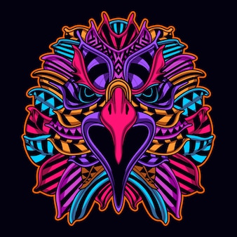 Visage d'aigle dans l'art de style de couleur néon