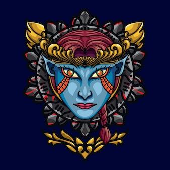 Visage de l'ange du diable, géométrie sacrée. une illustration avec la base d'un ange du diable