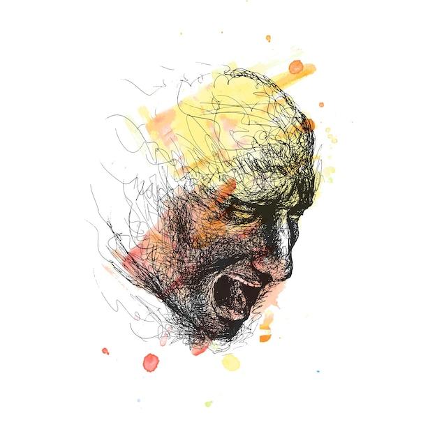 Un visage attrayant d'homme se dissolvant dans des lignes de stylo