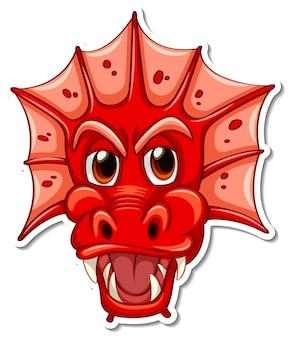 Visage d'autocollant de personnage de dessin animé dragon rouge
