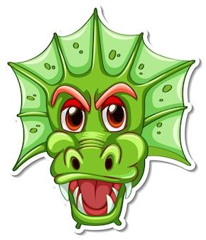 Visage d'autocollant de personnage de dessin animé de dragon vert