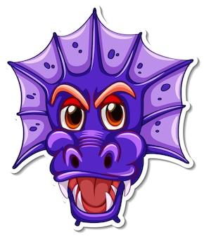Visage d'autocollant de personnage de dessin animé dragon violet