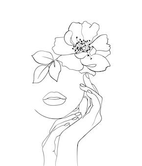 Visage de beauté avec art de dessin au trait fleur rose musquée. portrait minimal abstrait. - illustration vectorielle